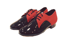 Load image into Gallery viewer, 7776BR - Gentlemen's Black and Red Leather Lace Up Rock and Roll Dance Shoes