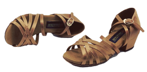 5525 - Low Cuban Heel Dance Sandal in Tan