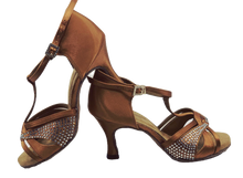 Load image into Gallery viewer, S7380T - Elite High Performance Rhinestone Dance Sandal in Tan