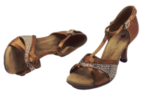 S7380T - Elite High Performance Rhinestone Dance Sandal in Tan