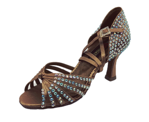 S125TC - Ladies High Performance Dance Sandal in Tan Satin with Rhinestones