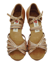 Load image into Gallery viewer, 5555D - Girl's Dance Shoes in Tan Satin