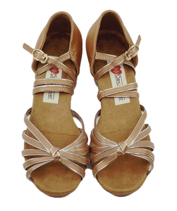 5555D - Girl's Dance Shoes in Tan Satin