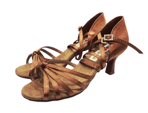 S27BT - Ladies Tan High Performance Dance Sandal in Tan Satin with Diamante Buckle Finish