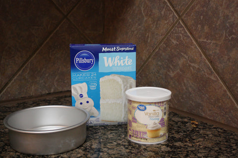 Pillsbury Cake Mix, frosting and 8 inch round pan