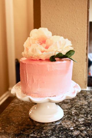 Girly Floral Pink birthday cake by LoveMeSparkle