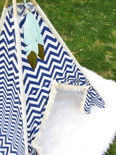 Load image into Gallery viewer, Navy Blue Chevron custom made nursery and playroom tents by Love MeSparkle