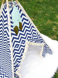 Navy Blue Chevron custom made nursery and playroom tents by Love MeSparkle