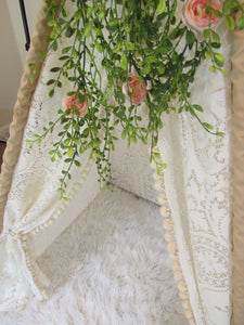 lace and pompom teepee tent with greenery topper accessory from LoveMeSparkle