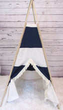Load image into Gallery viewer, rugby stripes teepee play tent by LoveMeSparkle