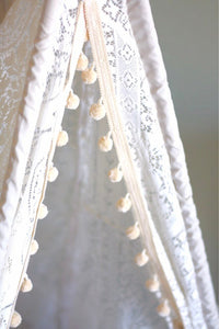 lace and pompom teepee tent from LoveMeSparkle