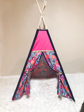 Load image into Gallery viewer, Hot pink and navy blue floral nursery kids room teepee tent