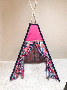 Hot pink and navy blue floral nursery kids room teepee tent