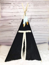 Load image into Gallery viewer, Black teepee play tent with feather topper by LoveMeSparkle