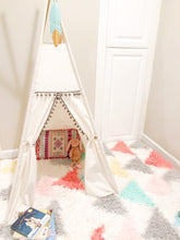Load image into Gallery viewer, white canvas teepee tent in a kids playroom by LoveMeSparkle