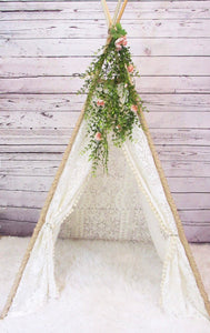 Daphne bohemian lace teepee with greenery accessory from LoveMeSparkle