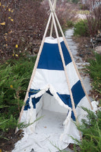 Load image into Gallery viewer, blue and white striped teepee tent for boys by LoveMeSparkle