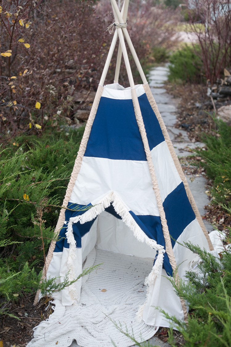blue and white striped teepee tent for boys by LoveMeSparkle