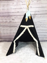 Load image into Gallery viewer, Black tribal teepee tent for nursery or playroom by LoveMeSparkle