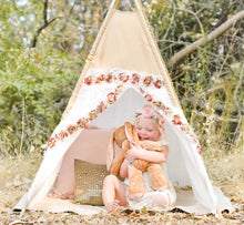 "Load image into Gallery viewer, ""Bella"" White and tan girls teepee tent by LoveMeSparkle"