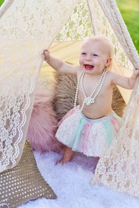 first birthday girl's photography with lace teepee by LoveMeSparkle
