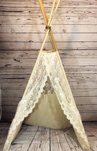 Load image into Gallery viewer, white/cream lace teepee tent from LoveMeSparkle