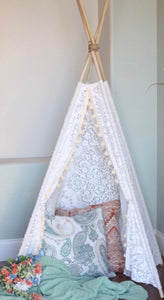 """Daphne"" lace and pompom teepee tent from LoveMeSparkle"