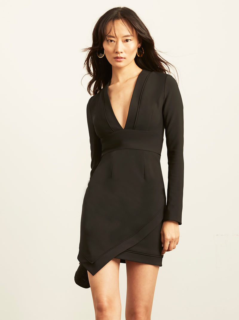 Brittany Plunging Dress with Asymmetrical Hem