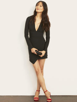 Brittany Plunging Dress with Asymmetrical Hem-Altress