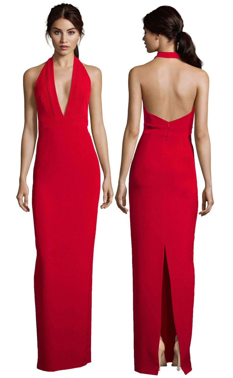 Kimberly Halter Plunge Neck Gown-Altress