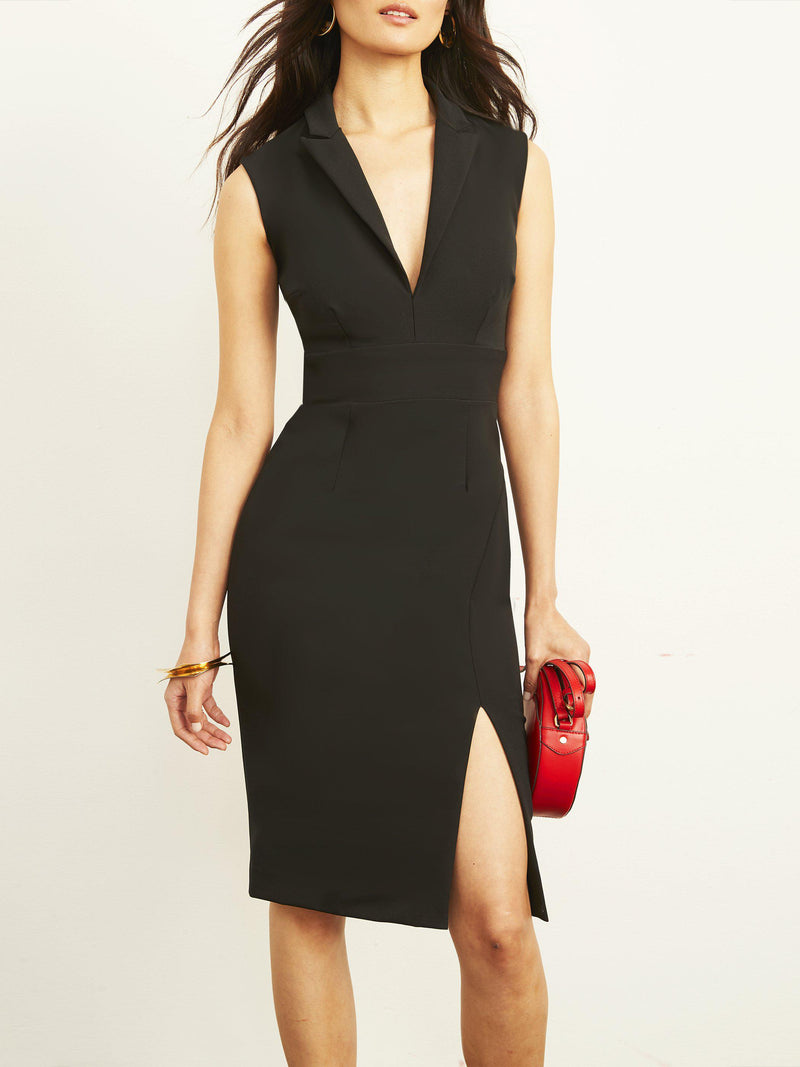 Ellinor Collared Dress with Slit-Altress