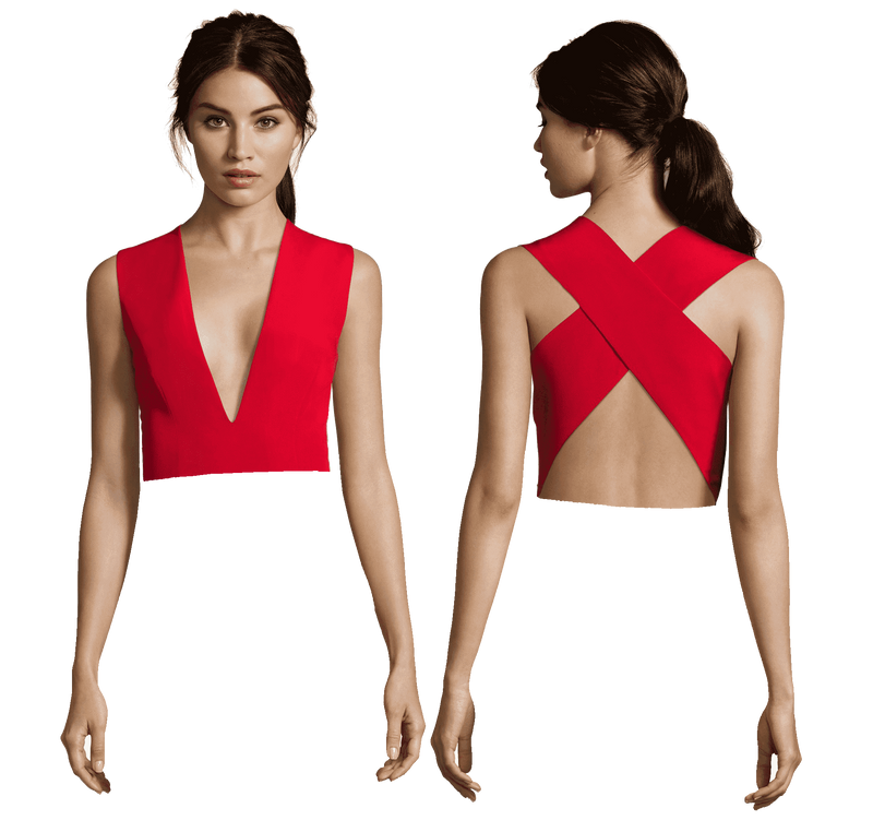 Julia Plunging V Neck with Cross Back