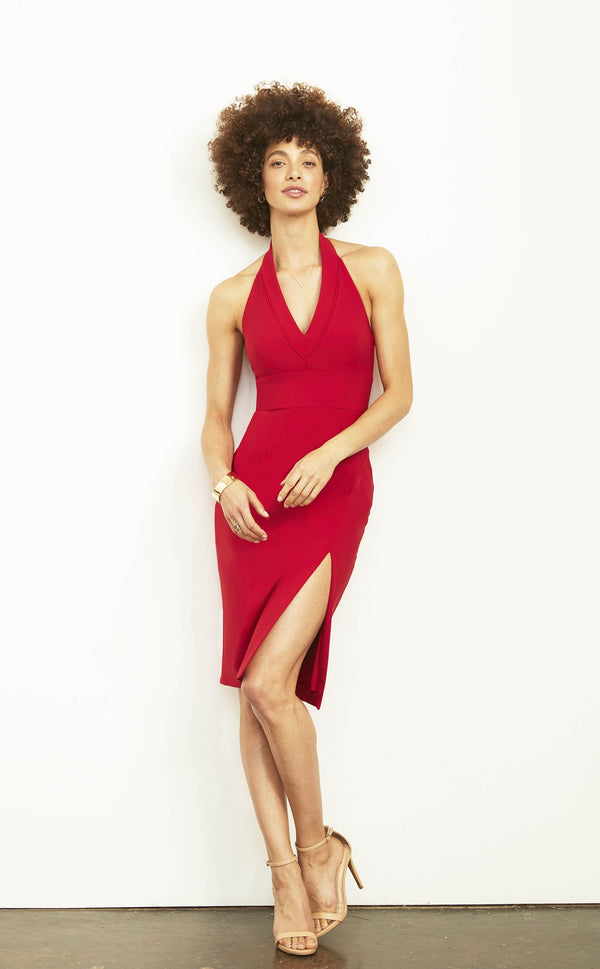 Kate Halter Dress with Slit Pencil Skirt