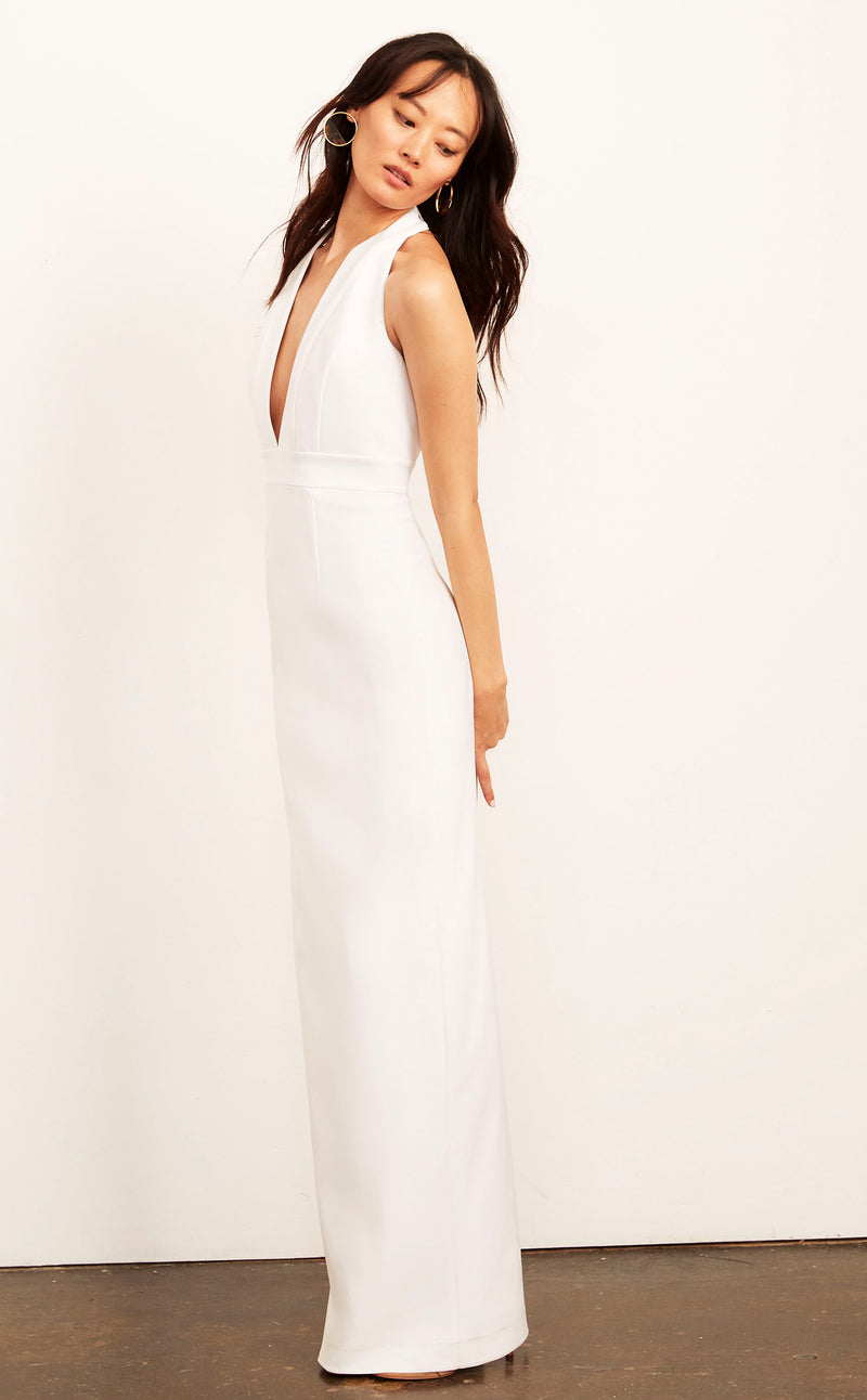 Kimberly Halter Plunge Neck Dress