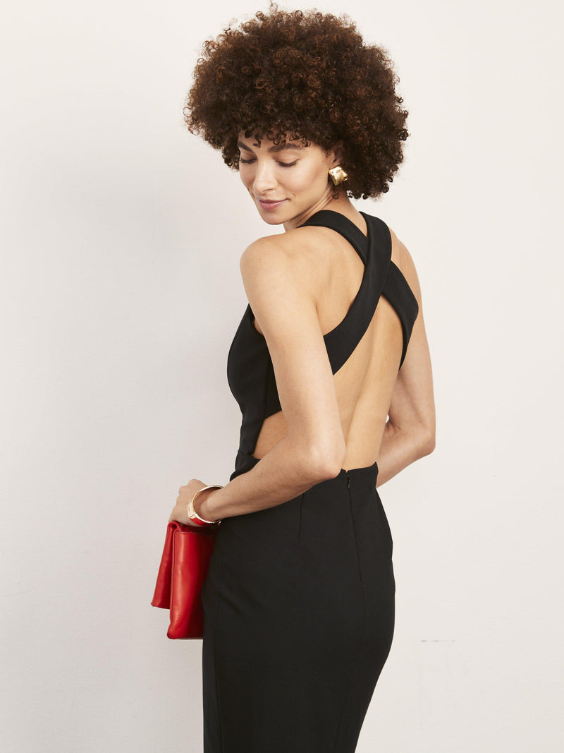 Julia X Back Gown with Plunge Neck