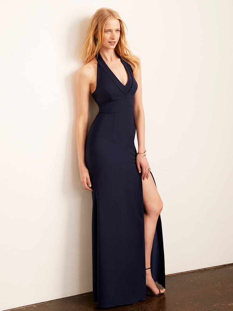 Kate Halter Gown with Slit-Dress-Altress