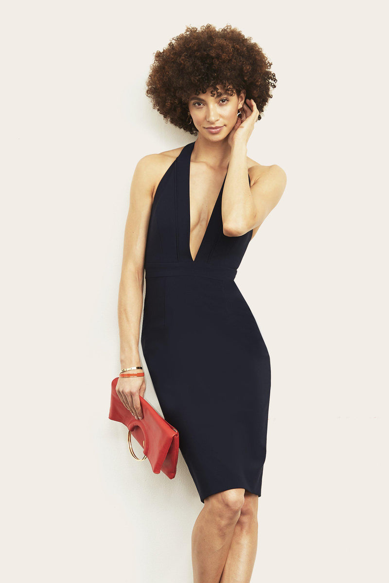 Kimberly Halter Plunge Neck Dress-Altress