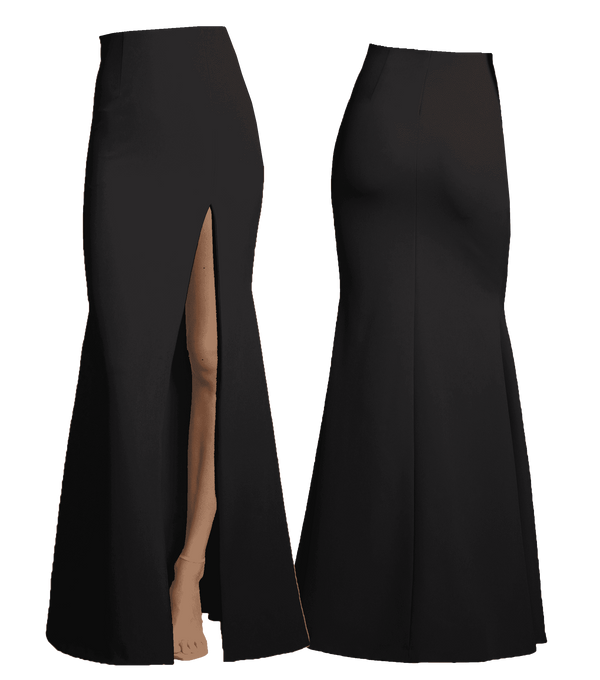 Fit & Flare Gown Skirt with Slit