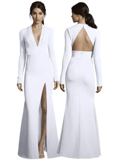 Brittany Long Sleeve Gown with Slit-Dress-Altress