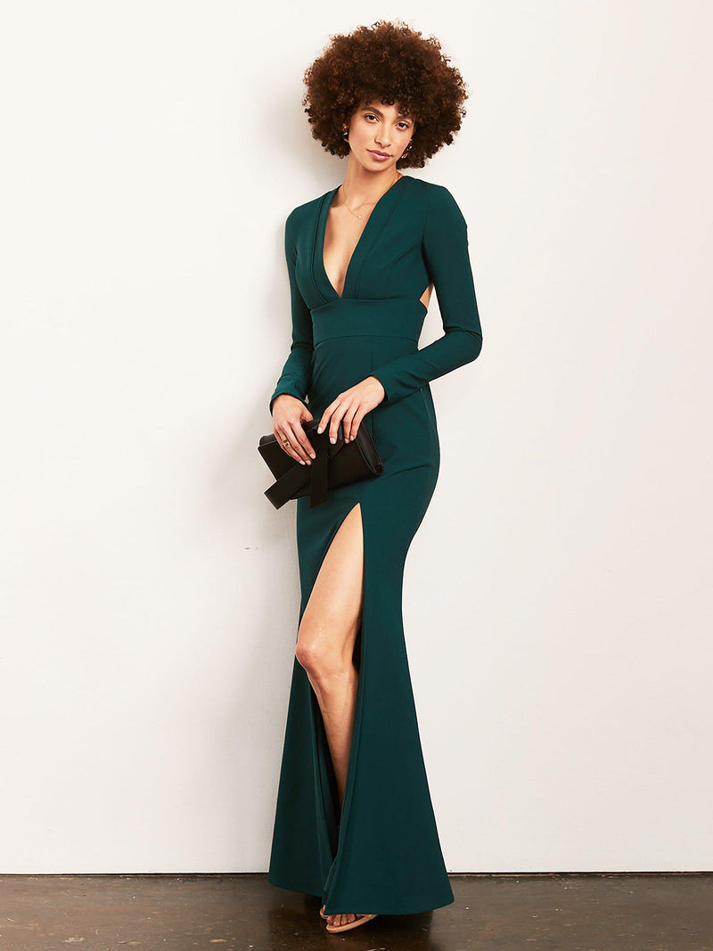 Brittany Long Sleeve Gown with Slit-Altress