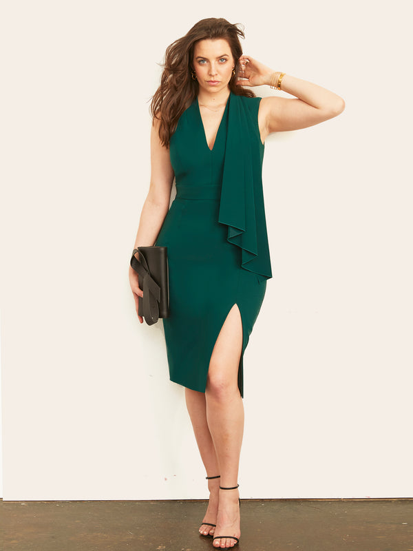 Ashley Cascade Dress with Slit-Dress-Altress