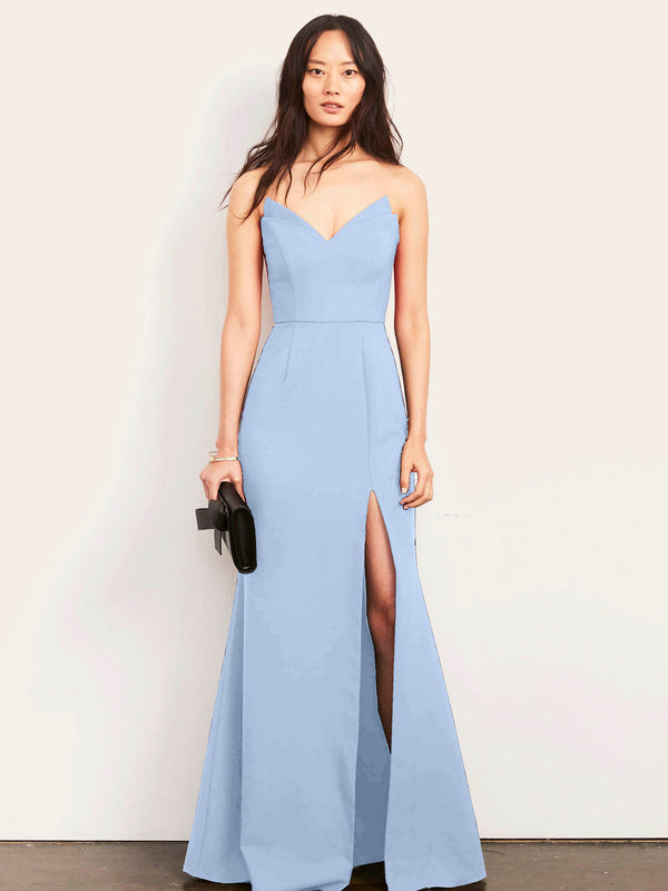 Jessica Strapless Gown with Slit