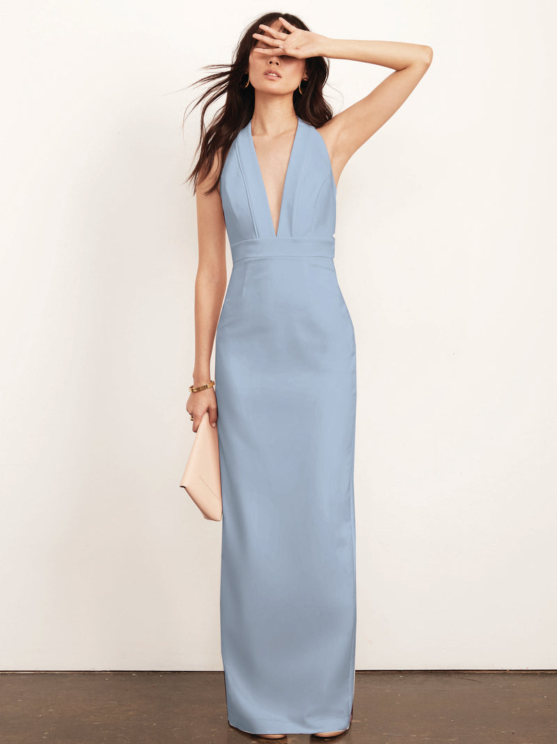 Kimberly Halter Plunge Neck Gown