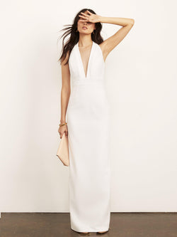 Kimberly Halter Plunge Neck Dress-Dress-Altress