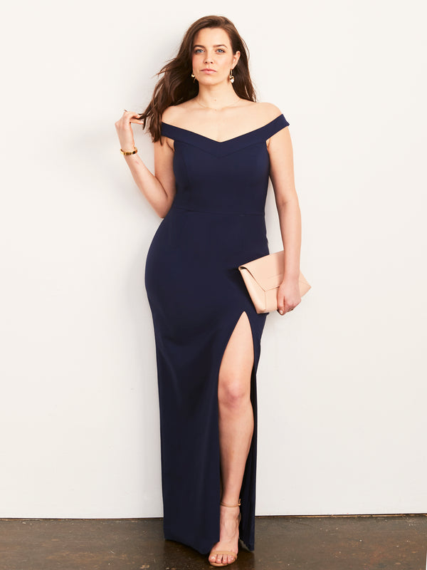 Meredith Off Shoulder Gown with Slit-Dress-Altress