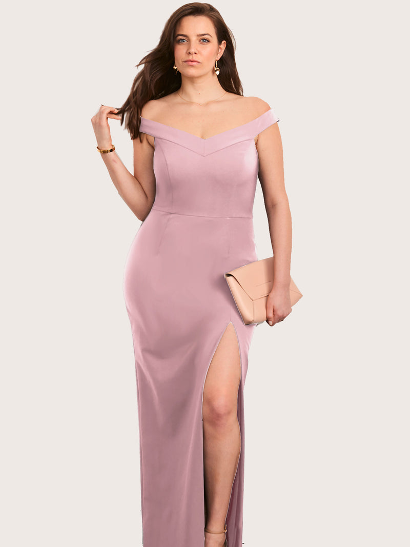 Meredith Off Shoulder Gown with Slit