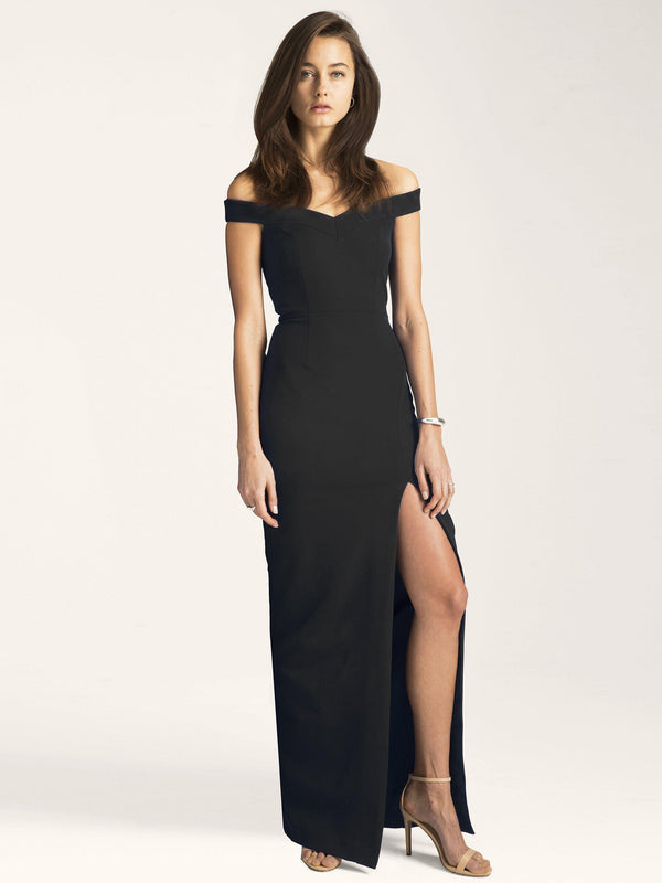 Meredith Off Shoulder Gown with Slit-Altress