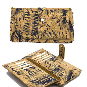 Natural Cork Ladies Wallet With Feather Print