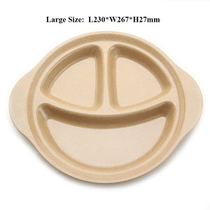 Natural Rice Husk 3 Grid Children's Plate
