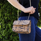 Natural Cork Feather Pattern Clutch